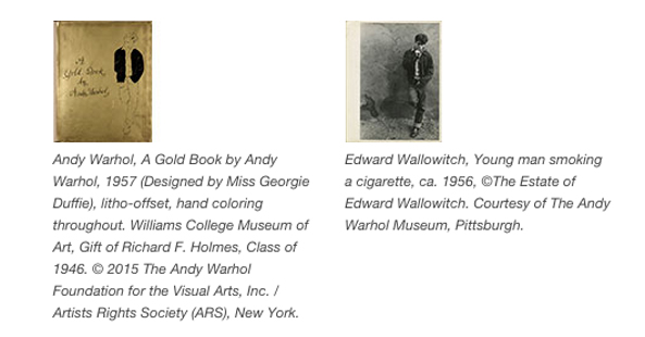 Cover of Andy Wahol's Gold book and Edward Wallowitch photo of image of someone looking like James Dean used for Warhol's drawing in the Gold Book