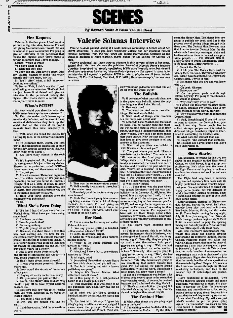 Valerie Solanas Interview