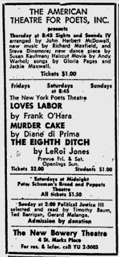 ad for the American Theatre for Poets including Diane DiPrima