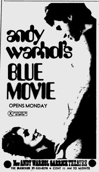 Andy Warhol's Blue Movie opens at the New Andy Warhol Garrick Theater