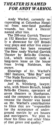 Garrick Theater is renamed the New Andy Warhol Garrick