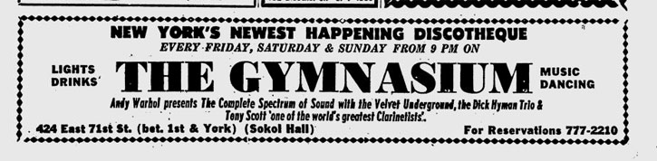 ad for The Gymnasium with Andy Warhol presenting The Velvet Underground