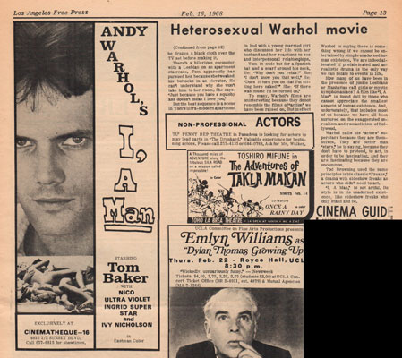 Andy Warhol's I a Man ad in LA Free Press