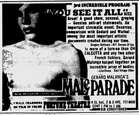 ad for porn films presented by Gerard Malanga