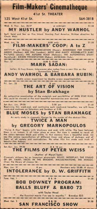 Andy Warhol and Barbara Rubin film at the Film-Makers' Cinematheque