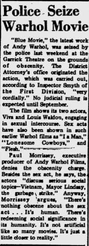 Andy Warhol's Blue Movie seized