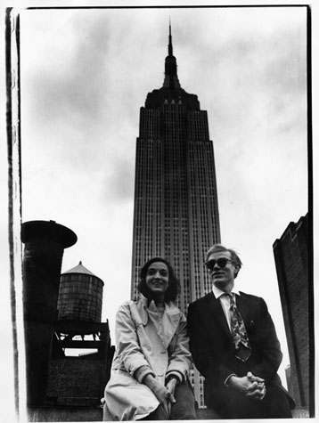 Marisol and Andy Warhol in front of the Empire State Building