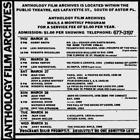andy warhol films at the anthology film archives