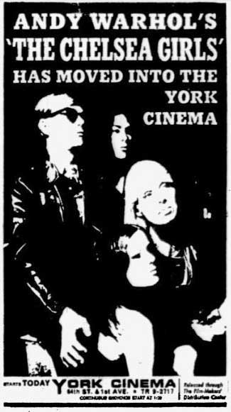 Chelsea Girls opens at York Cinema on 2 February 1967