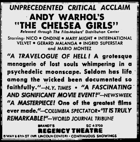 Chelsea Girls at the Regency