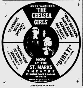 Andy Warhol's The Chelsea Girls at the St. Marks Theatre ad