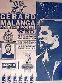 Flyer for Gerard Malanga at Le Metro