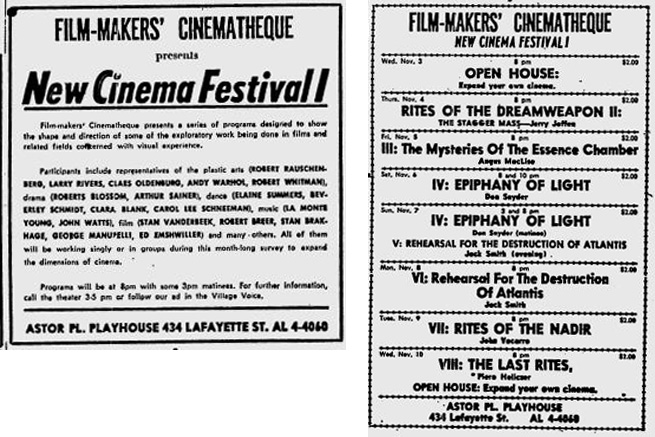 Village Voice Ad for the New Cinema festival