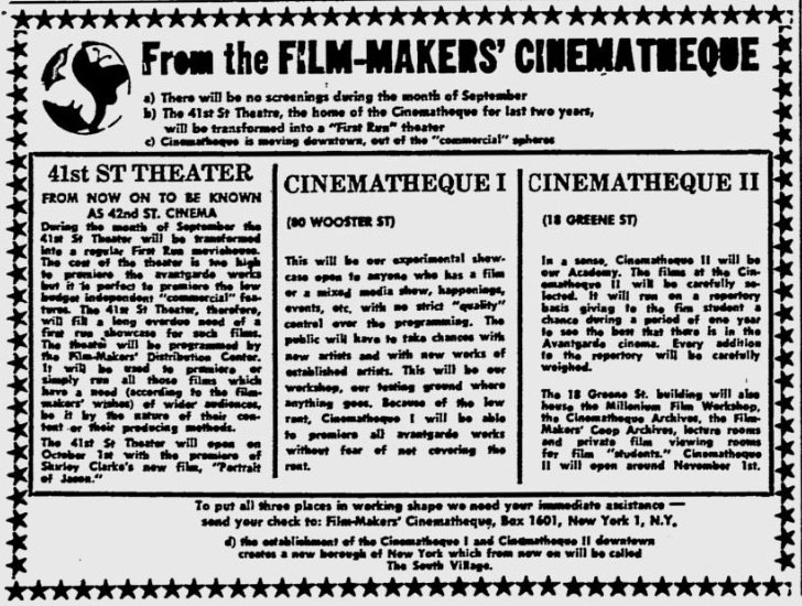 filmmakers cinematheque ad