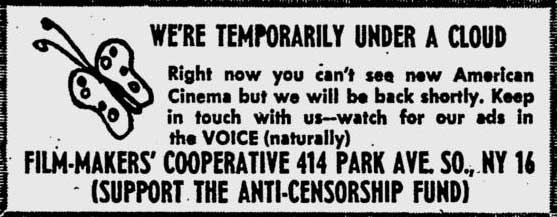 Film-Makers' Co-op ad in Village Voice 26 May 1964