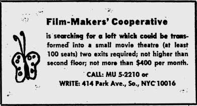Film-Makers' Cooperative ad searching for a loft