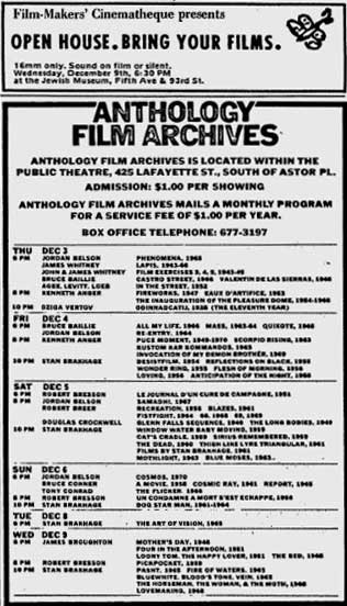 Ads for Film-Makers' Cinematheque and the Anthology Film Archives