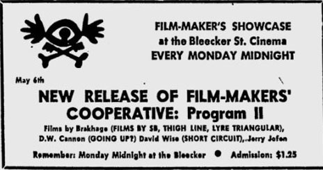 Film-Makers' Showcase at Bleecker Street May 1963
