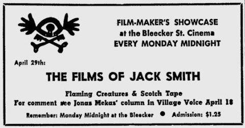 ad for premiere of Flaming Creatures by Jack Smith