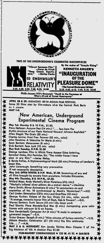 Filmmakers Cinematheque ad 27 April 1967