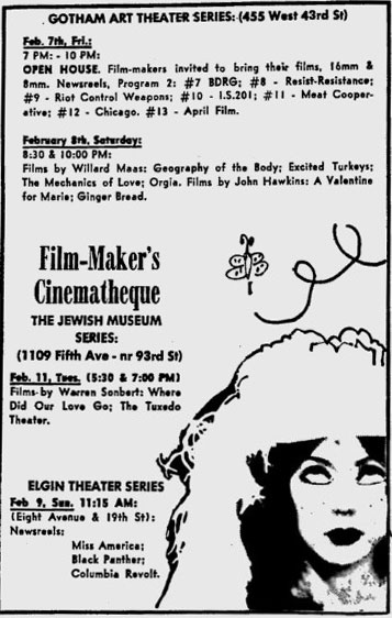 Film-makers' Cinematheque ad for Elgin and Gotham Art Theaters and the Jewish Museum in 1969