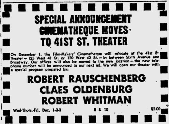 Film-Makers' Cinematheque moves to 41st Street
