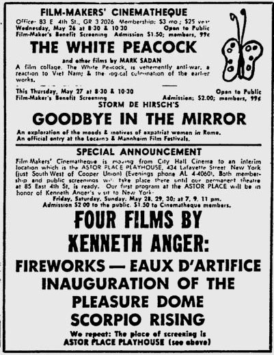 Astor Place Playhouse ad for Jonas Mekas' Cinematheque