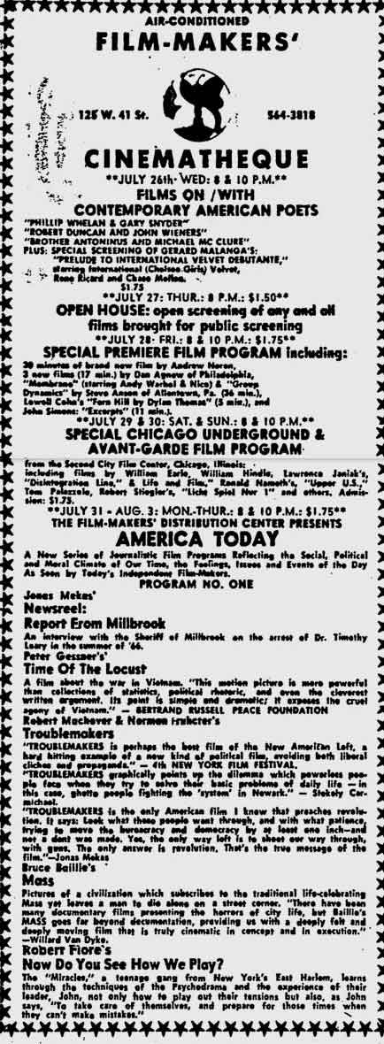 Ad for the Filmmakers Cinematheque in the Village Voice on 27 July 1967