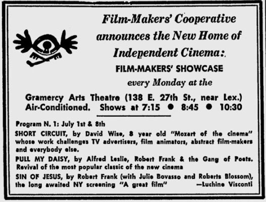 Filmmakers Cooperative ad for Filmmakers Showcase at the Gramercy Arts