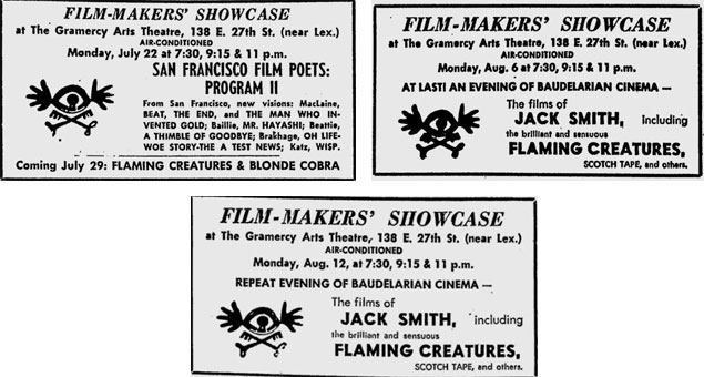 Ads for Flaming Creatures at the Filmmakers Showcase