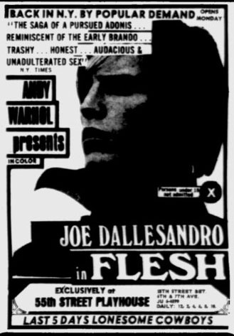 Ad for Flesh at the 55th Street Playhouse