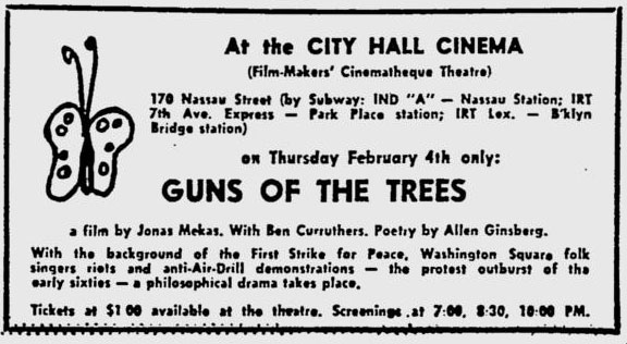 Guns of the trees ad in the Village Voice