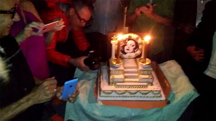 Holly Woodlawn birthday cake at her 69th birthday