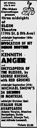 Kenneth Anger at the Filmmakers' Cinematheque at the Elgin