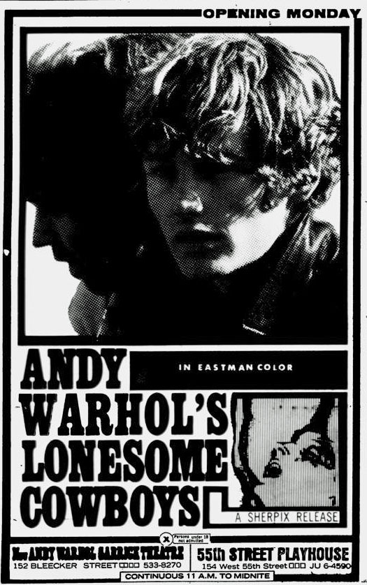 Ad for Andy Warhol's Lonesome Cowboys
