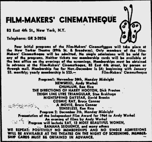 Andy Warhol's Most Beautiful Boys at the Filmmakers' Cinematheque ad