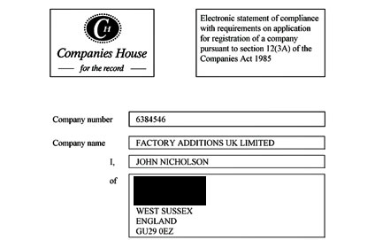 factory additions certificate of incorporation
