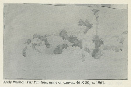 Andy Warhol, Piss Painting, 1961 reproduced in Unmuzzled Ox