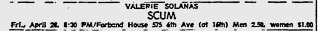 Valerie Solanas' Scum Meeting ad