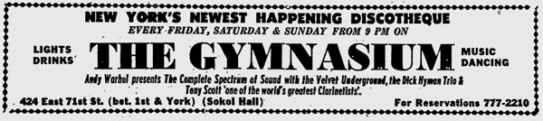 ad for velvet underground at the gymnasium